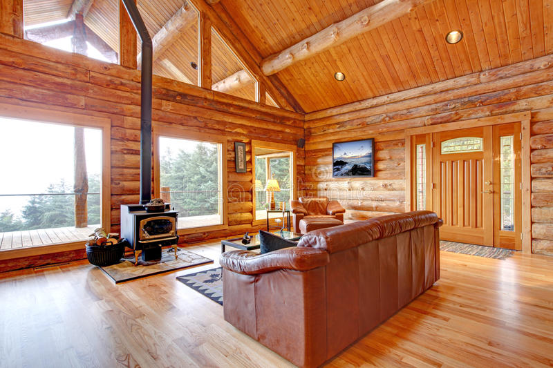 Luxury Log Cabin Living Room With Leather Sofa Stock Image - log cabin living rooms