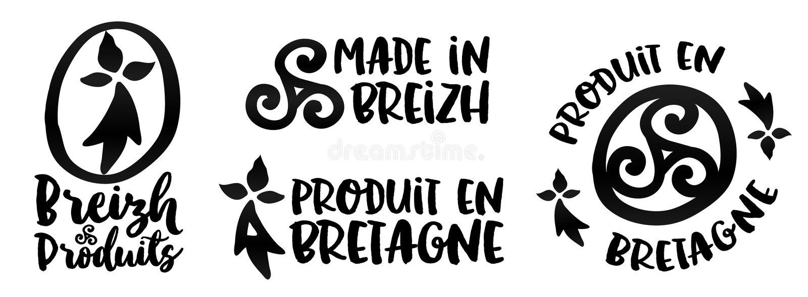 Made In Brittany Vector Logo And Labels Templates Set Stock Vector