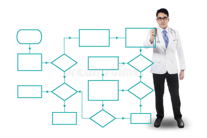 Male Doctor Drawing Flowcharts Stock Image - Image of doctor, link