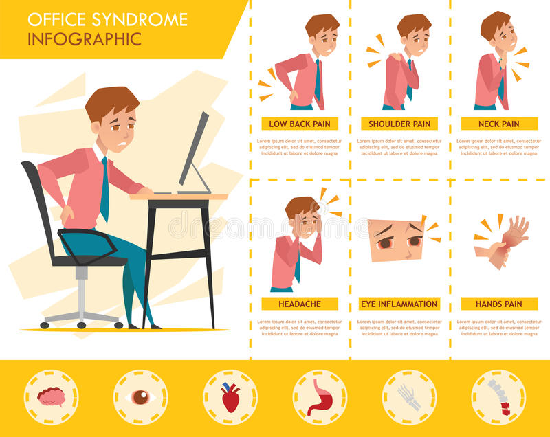 Man Office Syndrome Info Graphic And Stretching Exercise Stock - office exercise