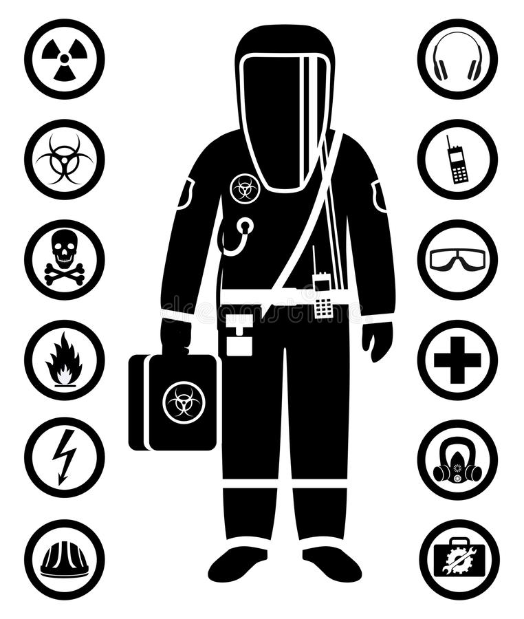 Industry Concept Black Silhouette Of Worker In Protective Suit - chemistry safety