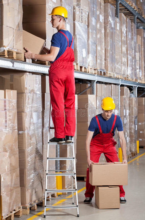 Man Working At Height In Warehouse Stock Image Image Of