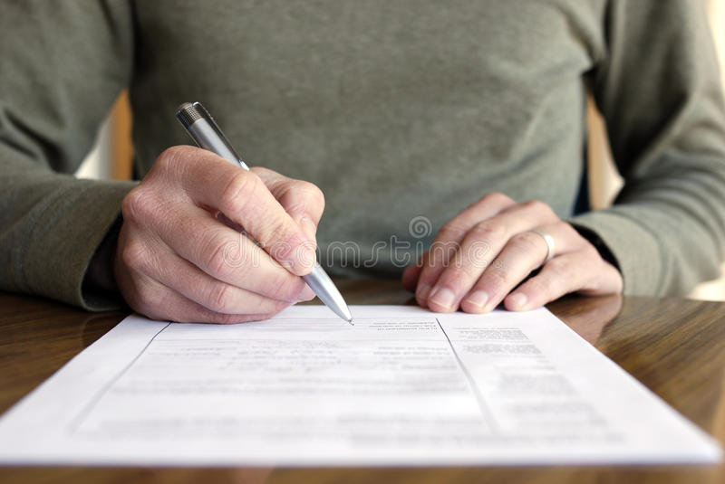 Man Writing On Paper With Pen On Table Stock Photo - Image of - horizontal writing paper