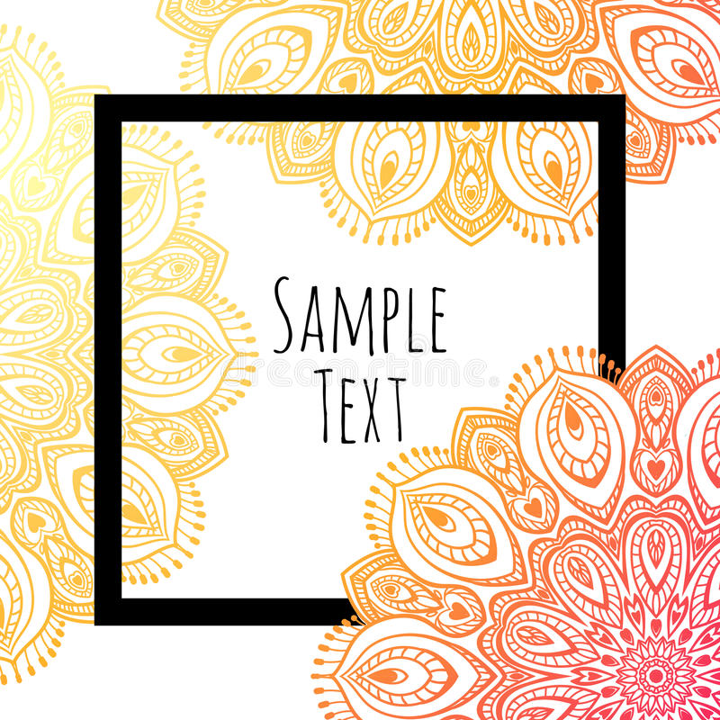 Mandala Background, With Black Border Stock Vector - Illustration - black border background