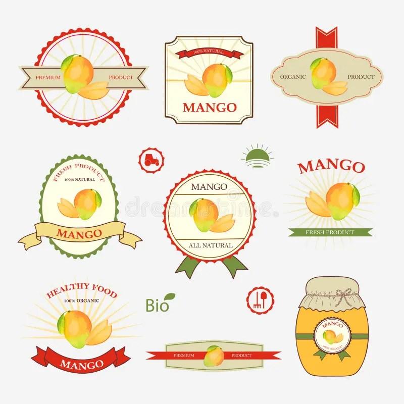 Mango, set of label design stock vector Illustration of health