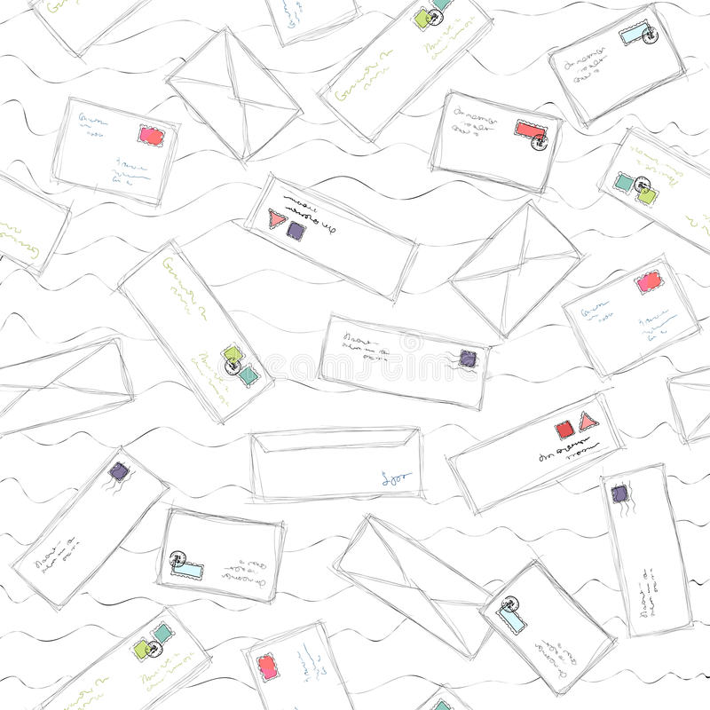 Many Letters And Envelopes With Stamps Mail Doodle Seamless Pattern