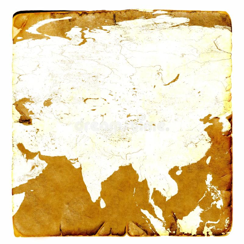 Map Of Asia Continent Blank In Old Style Russia, China, India