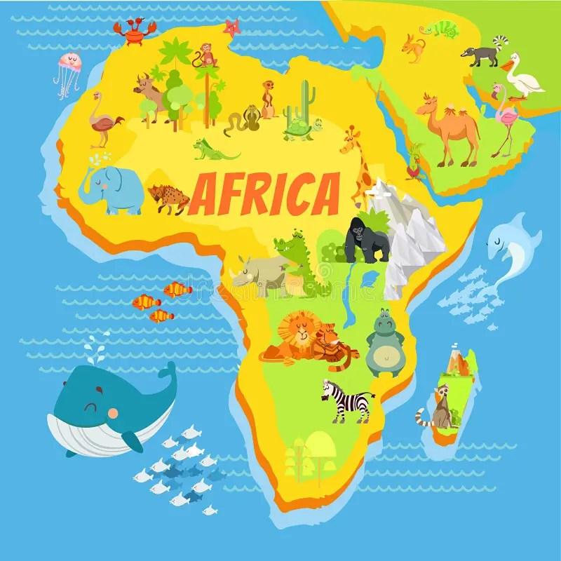 Mapa Dos Desenhos Animados De África Com Animais Ilustração do Vetor