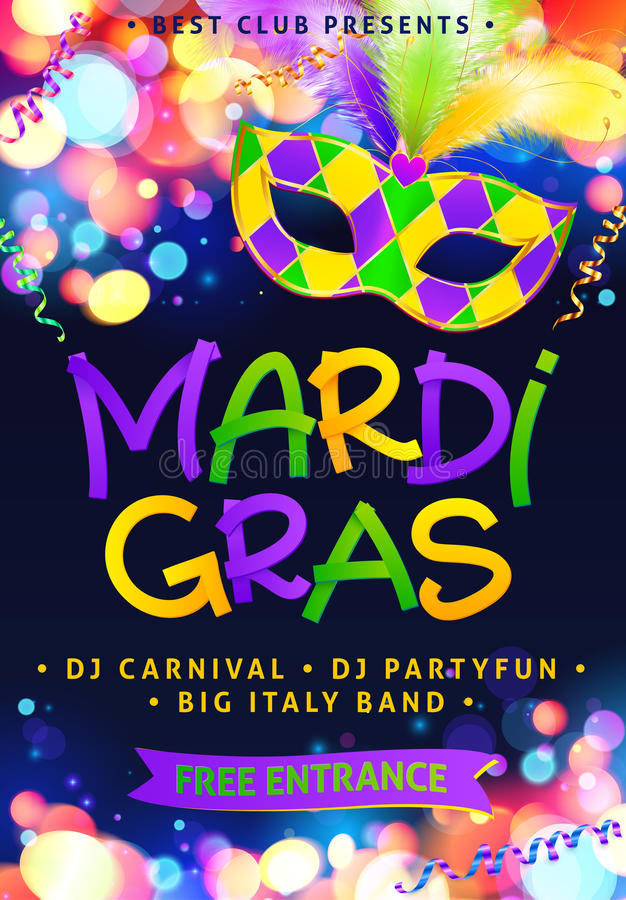 Mardi Gras Hand Drawn Sign And Traditional Colors Carnival Mask - free carnival sign template