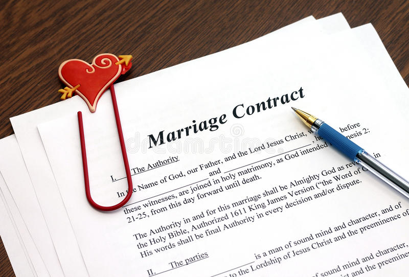 Marriage Contract With Pen On Wooden Table Stock Image - Image of - marriage contract