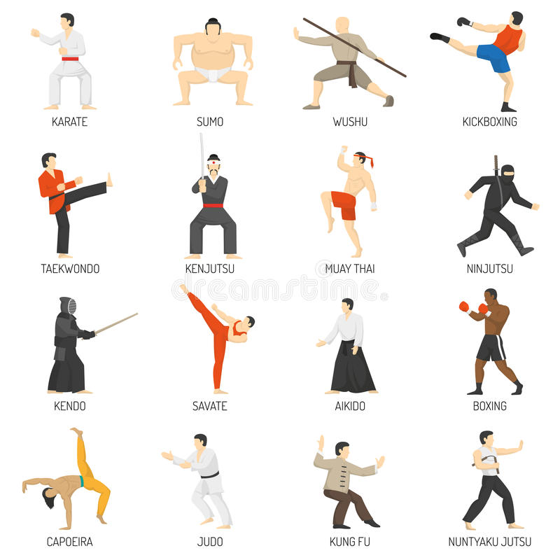 Martial Arts Decorative Flat Icons Set Stock Vector - Illustration
