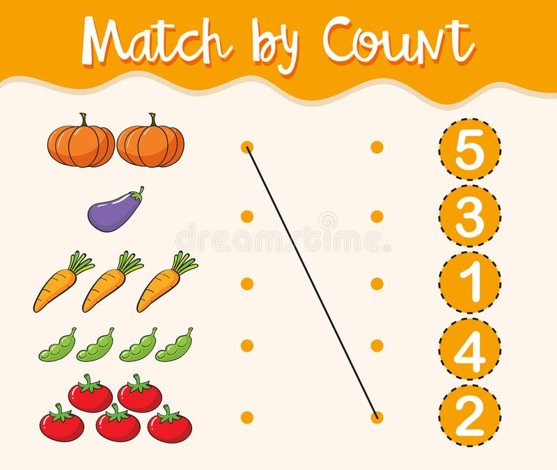 Math Worksheet Template With Matching Numbers And Vegetables Stock - math worksheet template