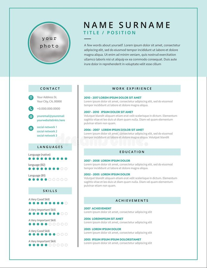 Medical CV / Resume Template Example Design For Doctors - Stock