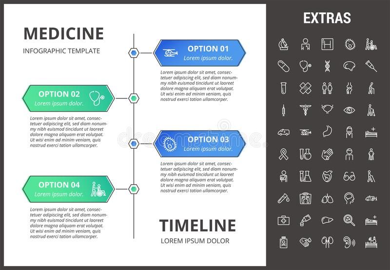Medicine Infographic Template, Elements And Icons Stock Vector - medical timeline template