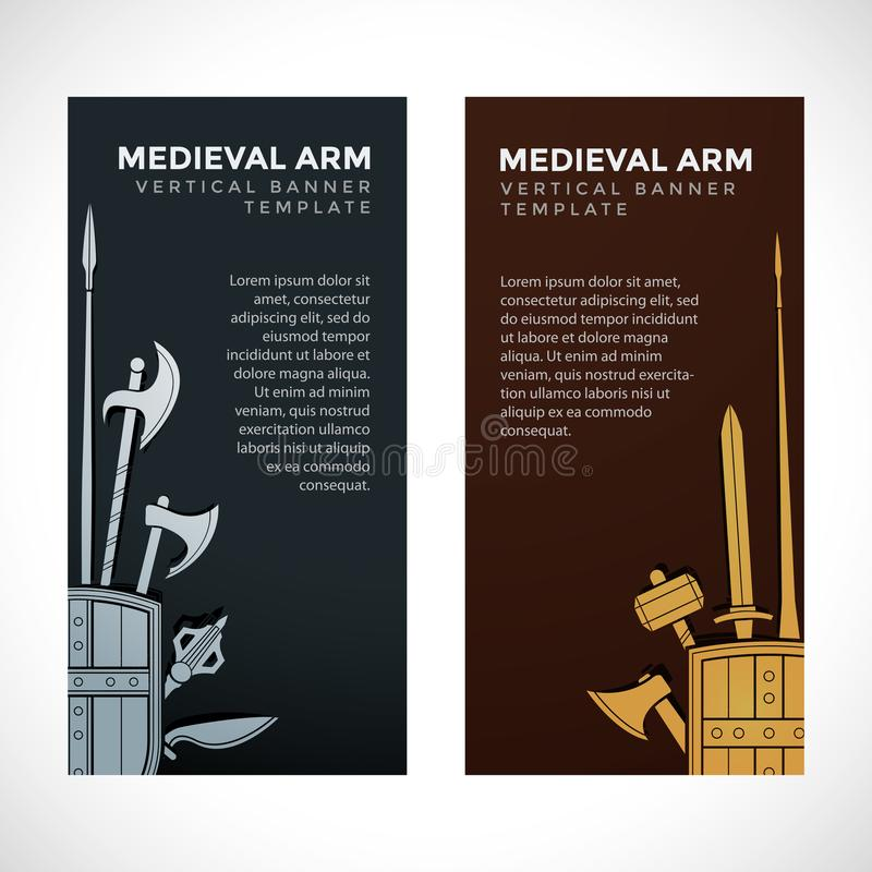 Medieval Cold Steel Arms Banners Stock Vector - Illustration of