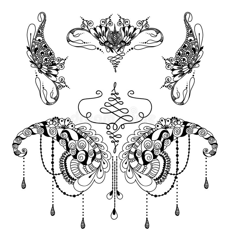 Mehndy Flowers Tattoo Template Stock Vector - Image 70874384 - tattoo template