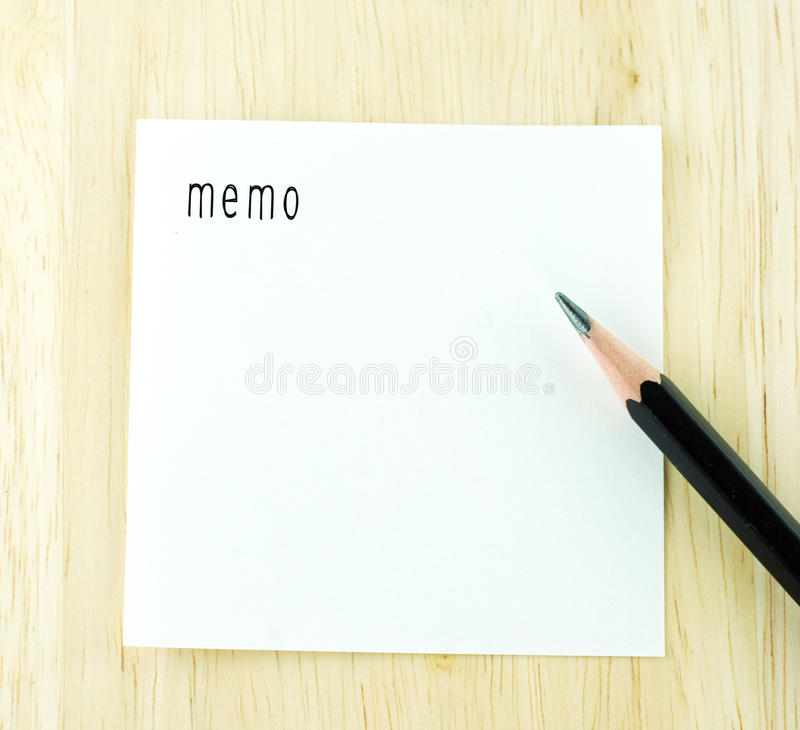 Memo Word On Notepad And Pencil On Wood Table Stock Image - Image of - notepad template for word