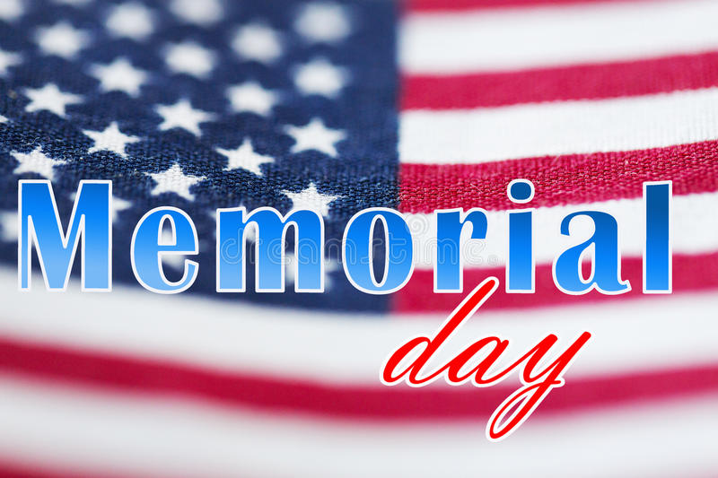 Memorial Day Words Over American Flag Stock Image - Image of