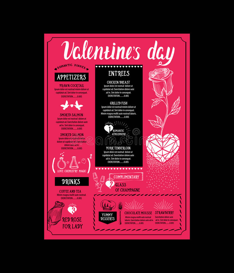 Menu Template For Valentine Day Dinner Stock Vector - Illustration - Dinner Flyer