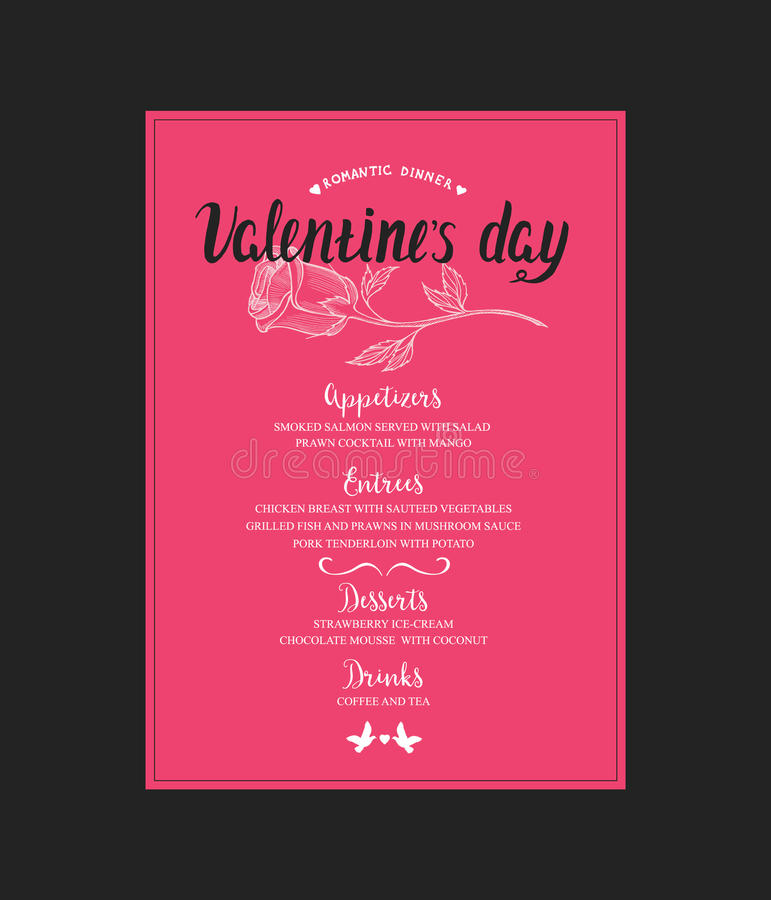 Menu Template For Valentine Day Dinner Stock Vector - Illustration - valentines day menu template