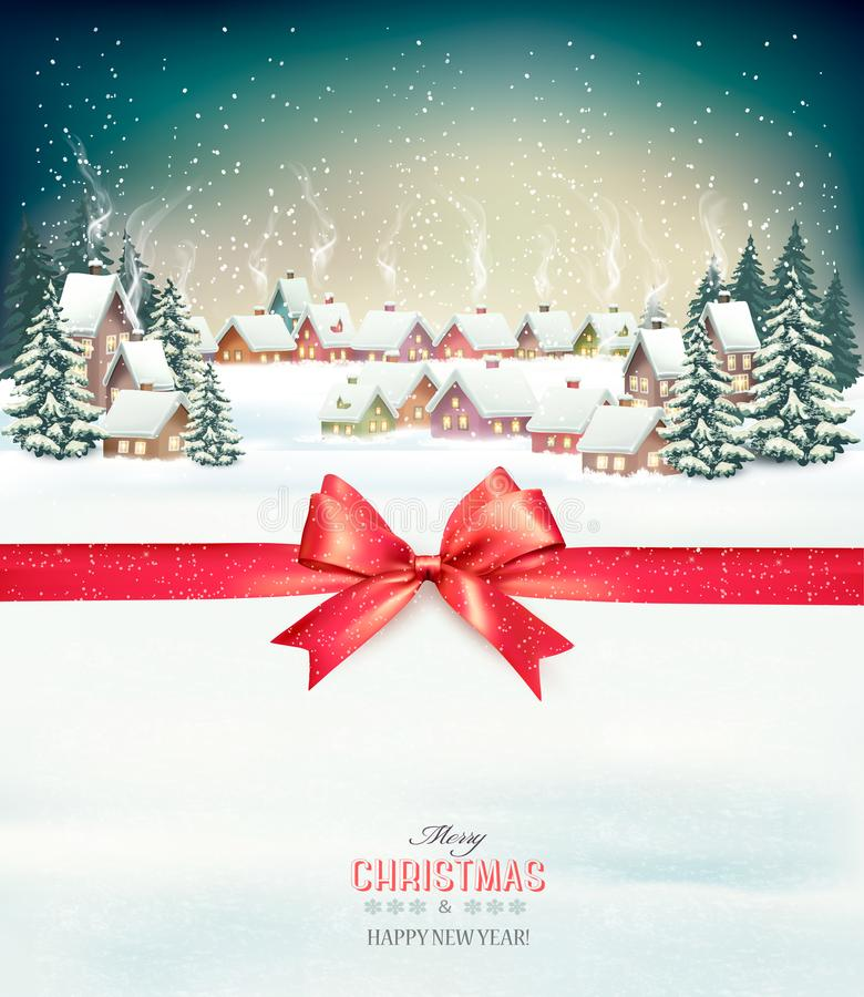 Merry Christmas Background With Red Gift Bow And Winter Stock Vector