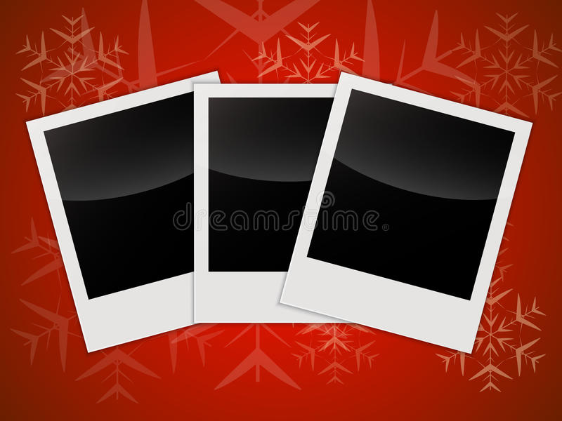 Merry Christmas Card Templates With Blank Photo Frames Stock Vector
