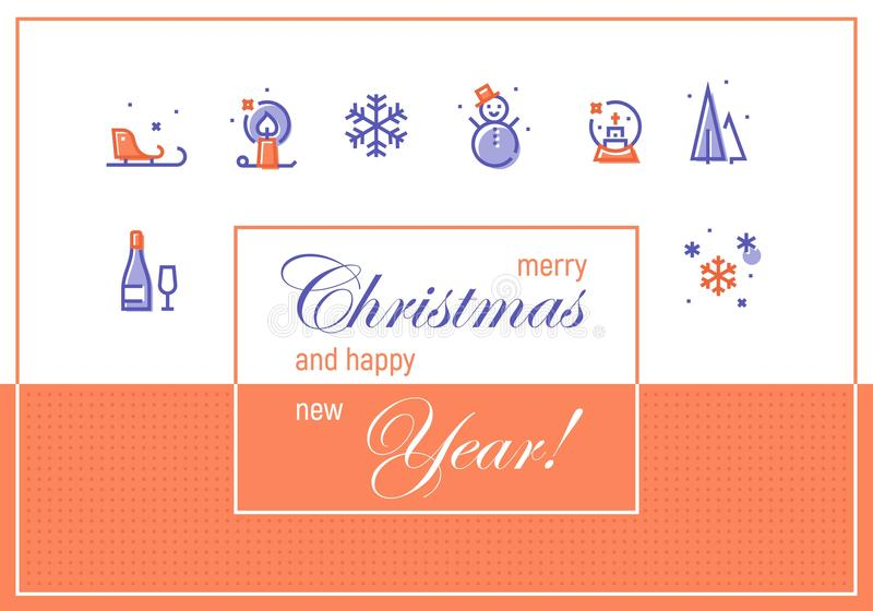 Merry Christmas And Happy New Year Greeting Cards Template Stock - merry email template