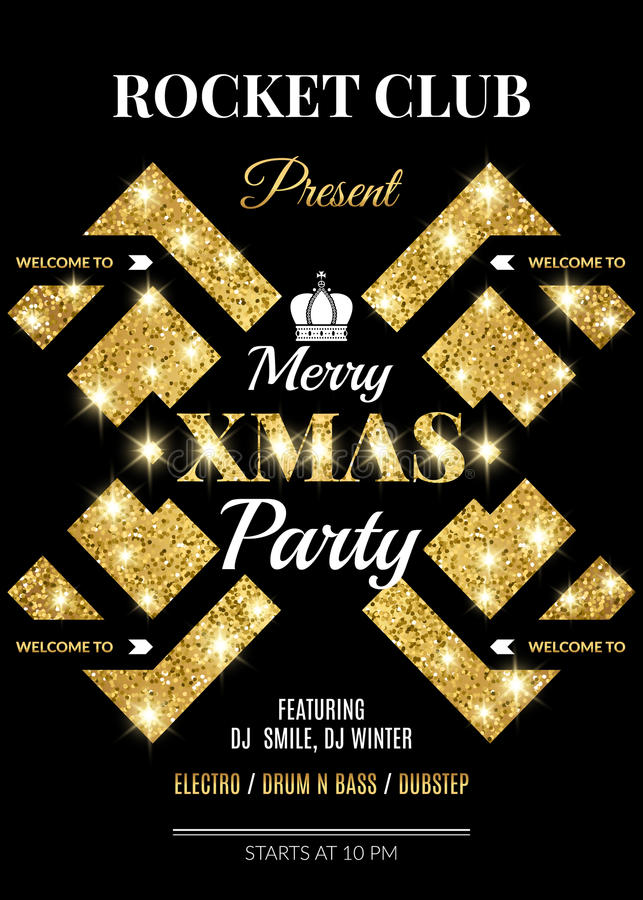 Merry XMAS Party Night Club Flyer Template Stock Vector