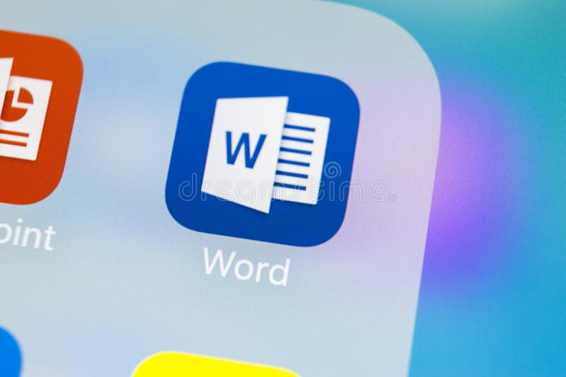 Microsoft Word Application Icon On Apple IPhone X Screen Close-up