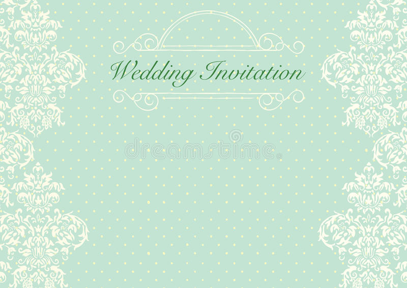 Mint Green Wedding Invitation Background Stock Illustration