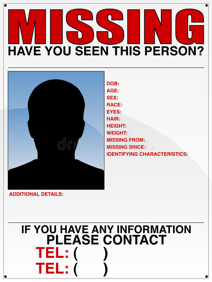 Missing Person Poster stock vector Illustration of blue - 16343674 - Missing Persons Posters