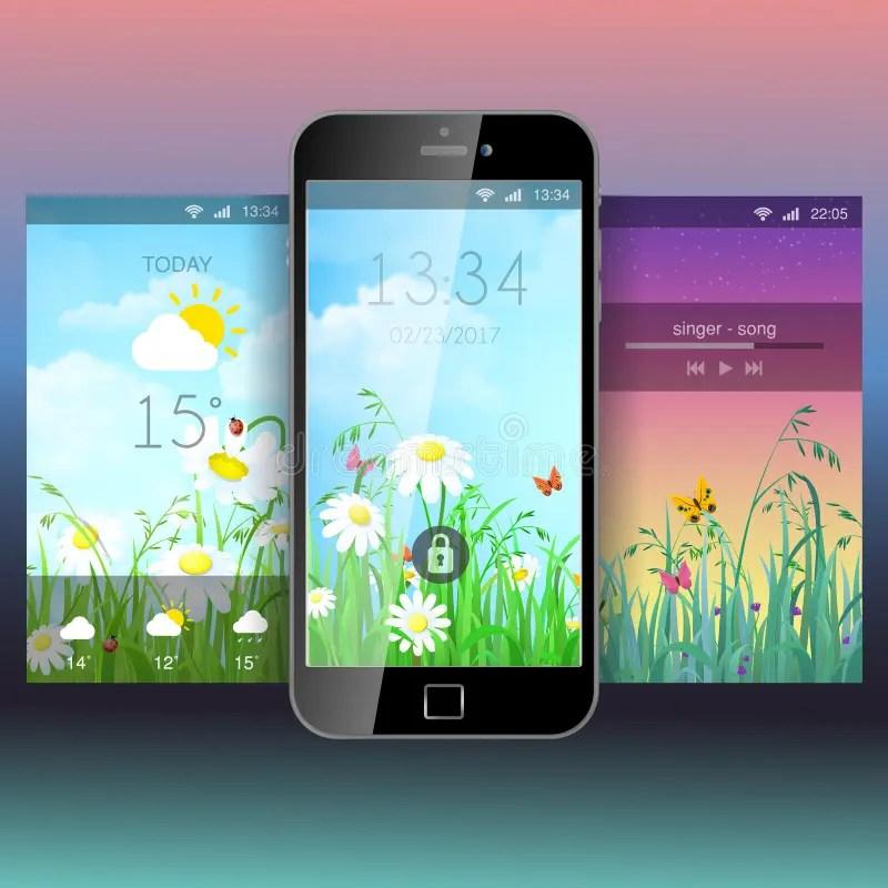 Mobile App Application Background Wallpaper Template Mockup Stock