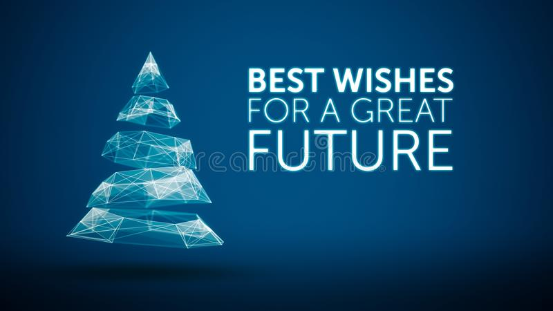 Modern Christmas Tree And Wishes Great Future Season Greetings - holiday greeting message