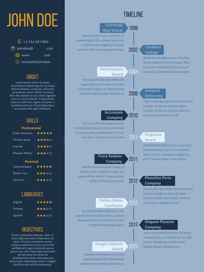 Modern Cv Resume Design In Blue And Orange Colors Stock Illustration - modern resume design