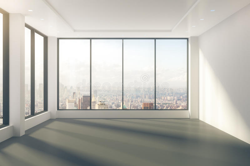 3d Windmill Wallpaper Modern Empty Room With Windows In Floor And City View