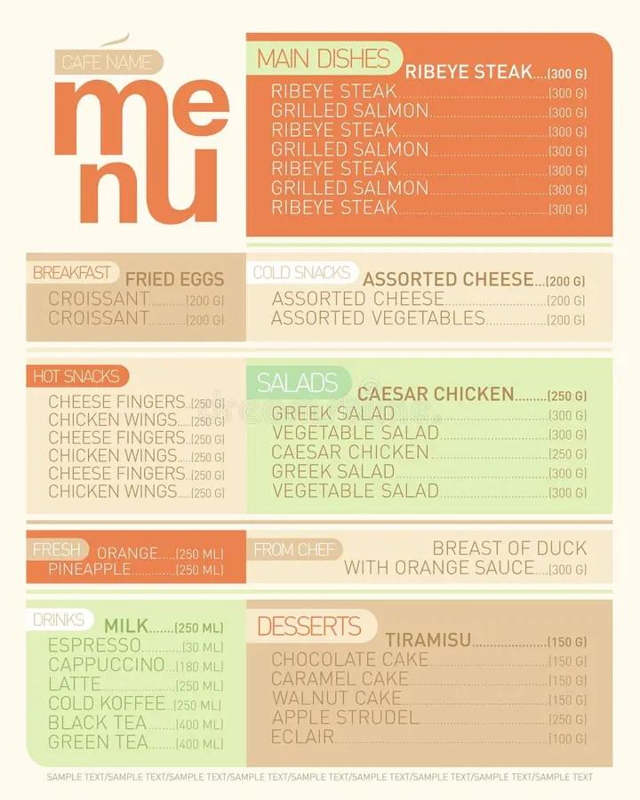 Modern menu list dishes stock vector Illustration of menu - 48048483 - menu list sample