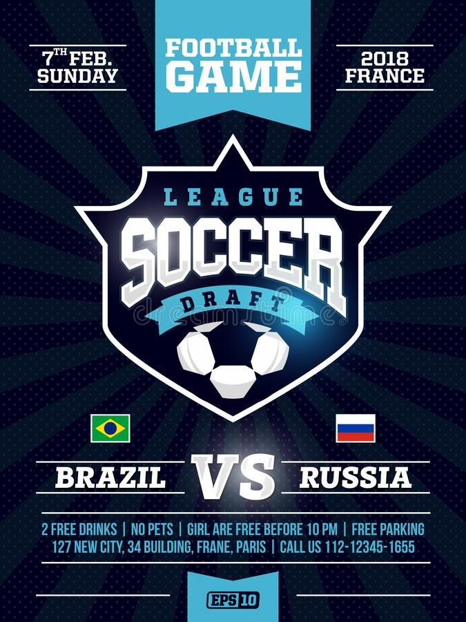 Modern Professional Sports Flyer Design With Soccer League In Blue - free flayer design