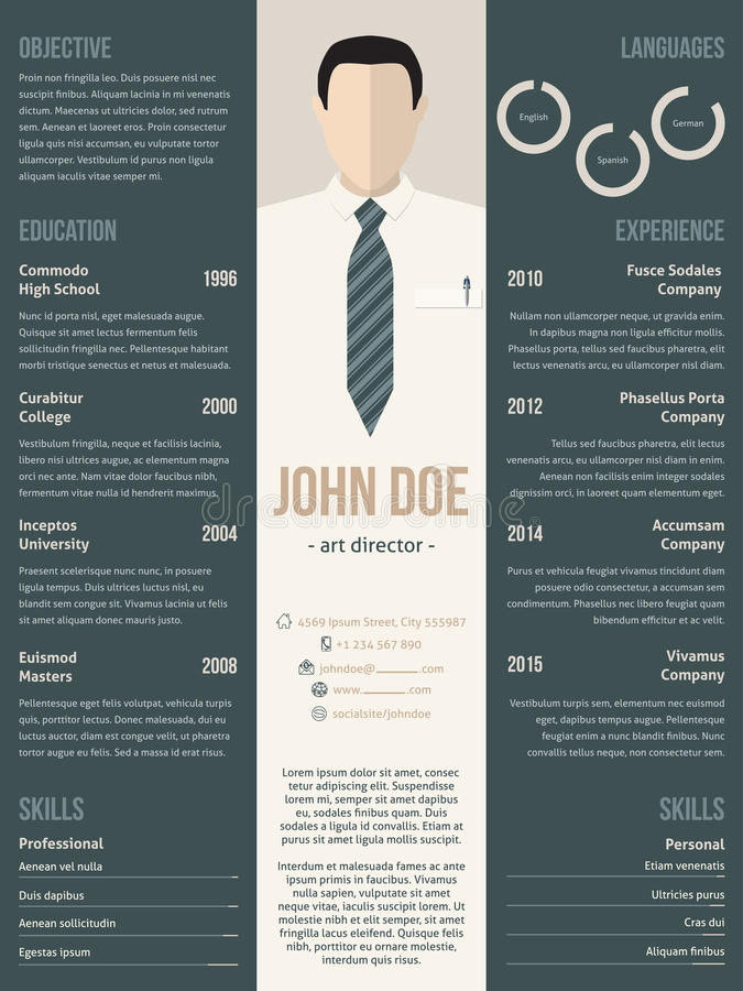 Modern Resume Cv Template With Business Suit Stock Vector - modern resume layout