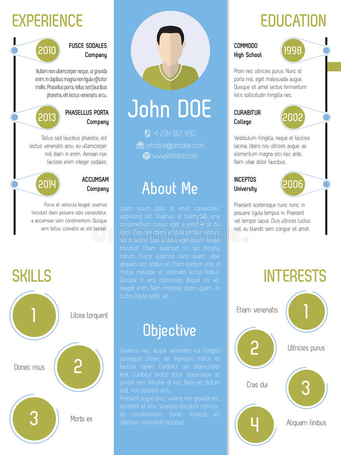 Modern Resume Design In Green And Blue Stock Vector - Illustration - modern resume design