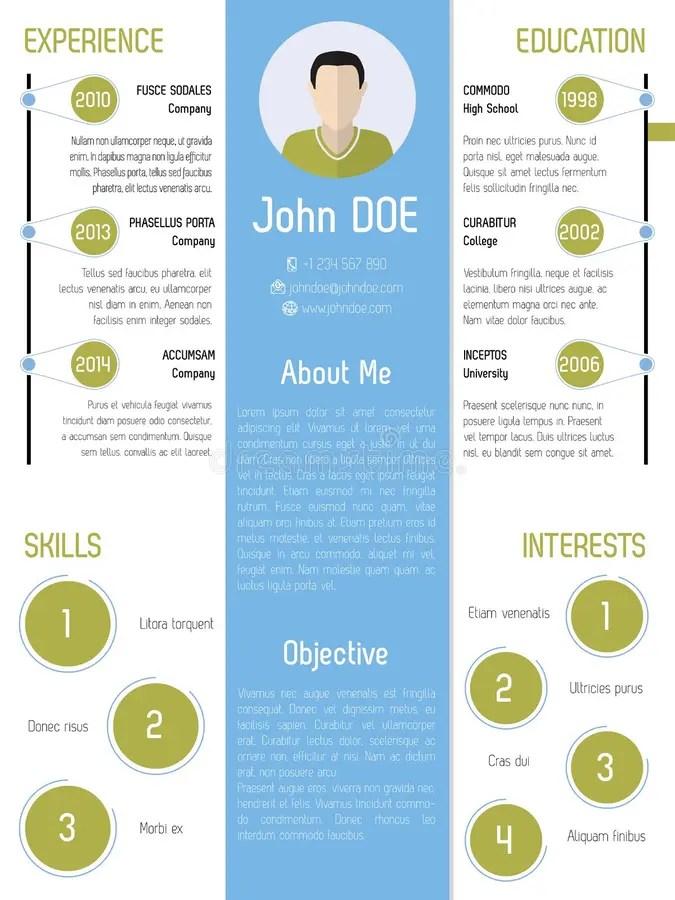 Modern Resume Design In Green And Blue Stock Vector - Illustration