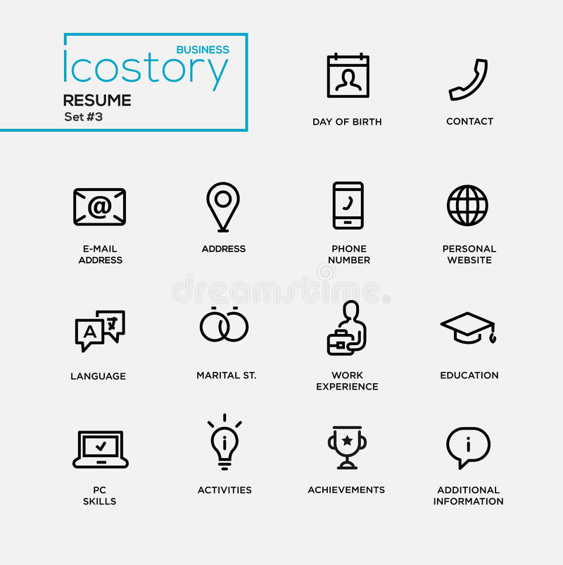 Modern Resume Simple Thin Line Design Icons, Pictograms Set Stock