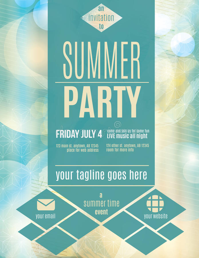 Modern Style Summer Party Flyer Template Stock Vector - Illustration
