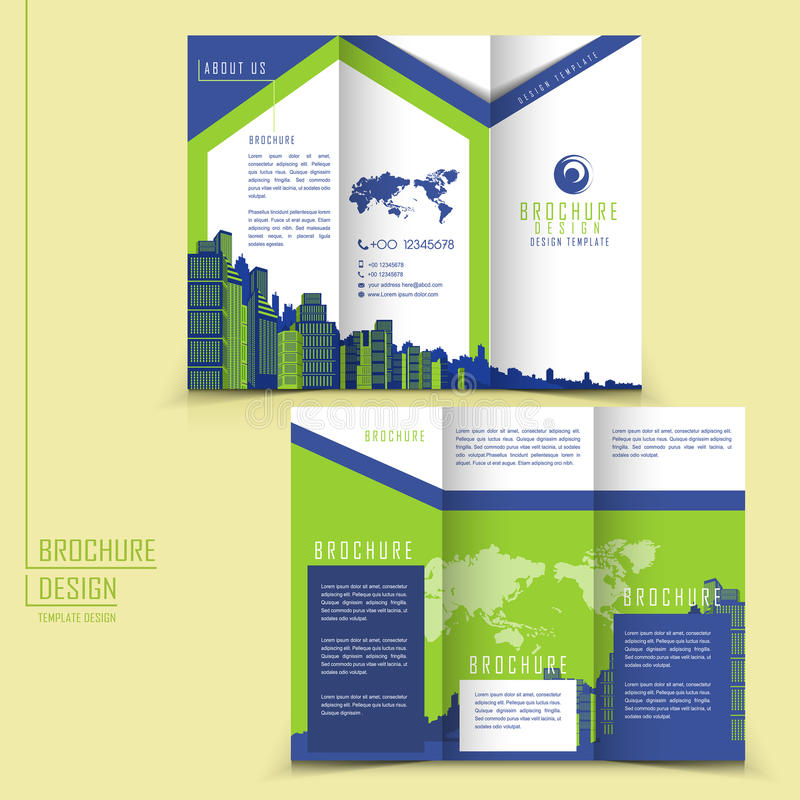 Modern Style Tri-fold Brochure Template For Business Stock Vector