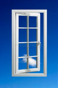 Modern White Window Frame In Blue Sky Royalty Free Stock ...