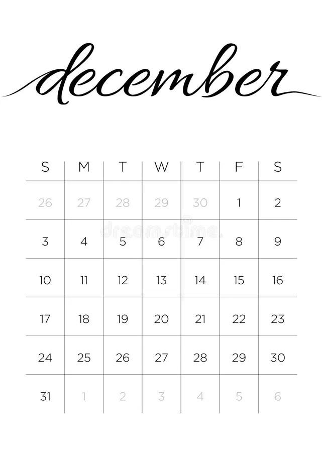 Monthly Calendar December 2017 Stock Vector - Illustration of monday