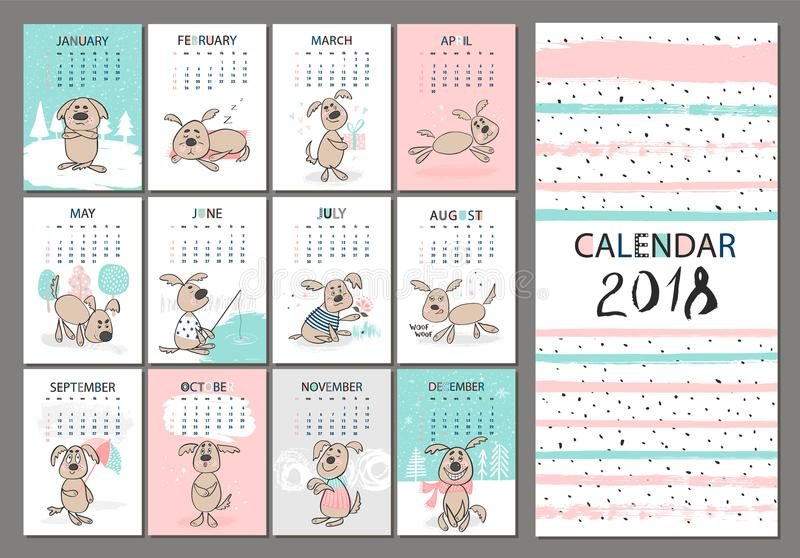 Monthly Creative Calendar 2018 With Cute Dogs Concept, Vertical