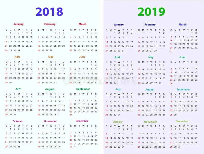 12 Months Calendar Design 2018-2019 Stock Vector - Illustration of - 12 calendar