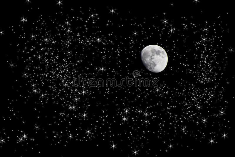 Fall Ceiling Wallpaper Hd Moon In Starry Night Sky Stock Photo Image Of Full
