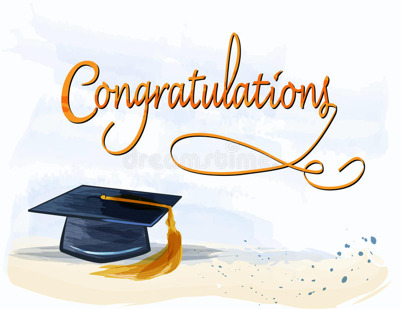 Graduation With Congratulations Text In Watercolors Stock Vector