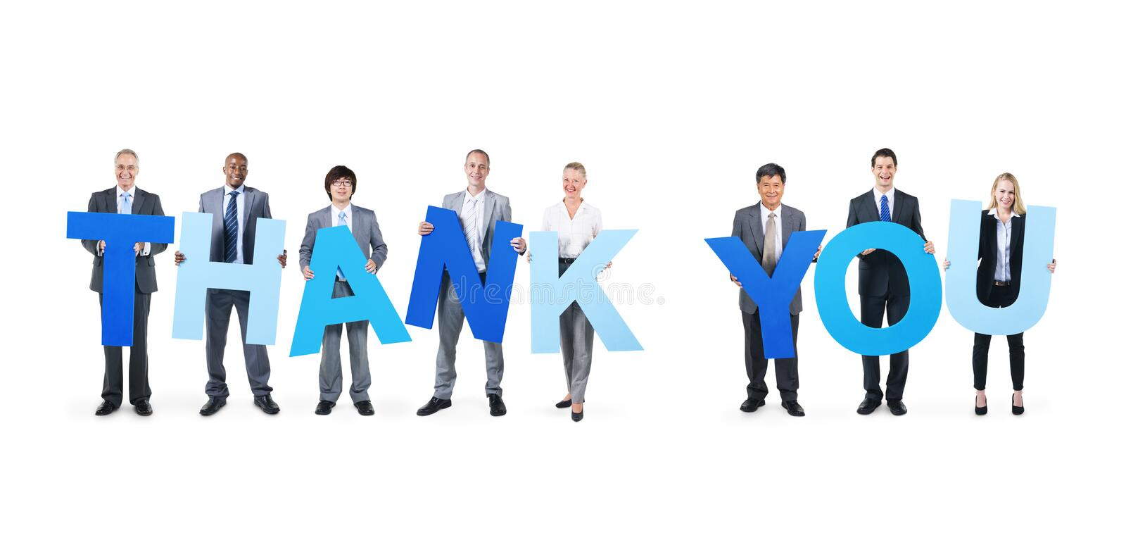 Multiethnic Business People Holding Word Thank You Stock Photo